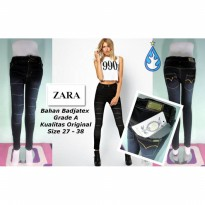 Celana Jeans Zara Black Spray Ripped YKK Zipper | GMMP103