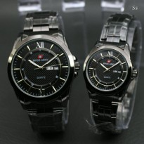 TERLARIS!!! Jam Tangan Couple Swiss Army Terbaru Strap Stainless Steel (Full Black)