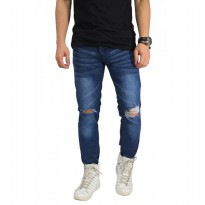 Jeans Knee Rips With Ankle Zip Dark Blue