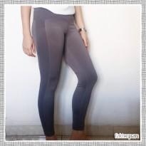 FOREVER 21 90 DEGREE Long Legging CELANA PANJANG Orange Grey Striped Black White