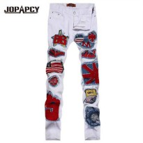 [globalbuy] Hip Hop White Jeans US Flag Badge Patch Slim Fit Denim Pants Men Patchwork Hig/4195341