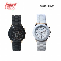 Geneva Jam Tangan Fashion Wanita Round Analog With Chrono Display Starp Rubber (FIN-27)