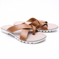 Dr.Kevin Women Flat Sandals Pu Leather 57006 Brown