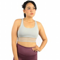 Baju Olahraga Senam Yoga Gym Fitness Forever 21 Medium Impact-Stripe Bra- Grey 06FSB003