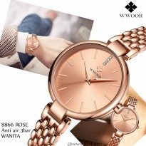Wwoor 8865 Luxury Rose Gold Jam Tangan Wanita Fashion Formal Kasual Dan Feminim Anti Air