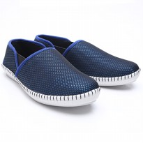 Dr.Kevin Mens Casual Slip On Shoes Canvas 13261 - 2 Colors [ Blue,Silver/Brown ]