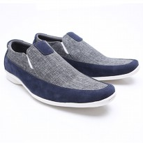 Dr.Kevin Mens Casual Slip-On Shoes Canvas 13274 - 2 Colors [ Blue/Grey, Black/Grey ]