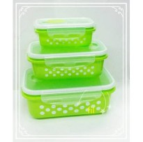 kotak Makan polkadot lunch box PERSEGI 3 pcs serbaguna storage food