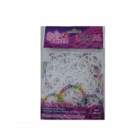 Girlie Girlz TM3229 Jelly Colour Rubber Loom Band & Clip Refill Pack (small) White