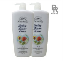 Leivy Naturally Soothing Shower Cream with Peach, Cucumber & Menthol 1150ml (2 Pcs)