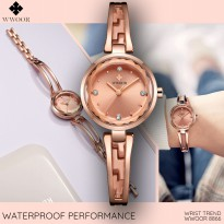 Wwoor 8866 Rose Gold Jam Tangan Wanita Minimalis Fashion Formal Trendy Anti Air