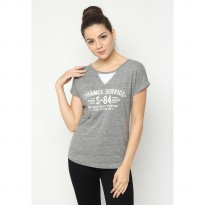 Mobile Power Ladies Casual Text Printing Combination T-shirt - Grey A6801