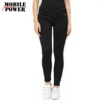 Mobile Power Ladies Jeans Slim Fit Long Pants - Black C2631