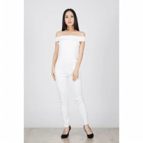 Fratier White Off Shoulder Jumpsuit