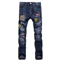 [globalbuy] Mens casual hole badge patch ripped jeans Fashion dark blue denim pants Long t/4194193