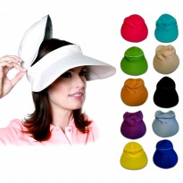 D & D Hat Collection Topi Golf / Zip Vizor Hat / Senam Zumba / Topi Senam Pantai | Bahan Drill