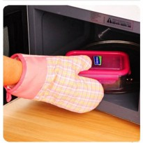 [globalbuy] Cross Cotton Thickening Microwave Oven Gloves Heat Insulation Gloves High Temp/2899346