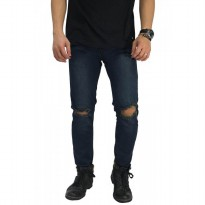Jeans Ripped On Knee Blue Indigo