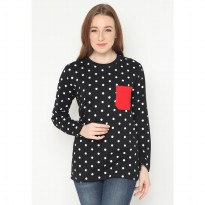 Mobile Power Ladies Long Sleeve T-Shirt Polkadot - Black JL110