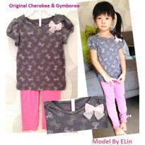 SEM071 - Setelan Girl Casual Cherokee Tee Purplish Grey with Ribbon + Legging Gymboree