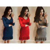 Jane dress knit FT] dress wanita softknit var color