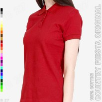 COUNTRY FIESTA Original P3-24 Kaos Polo Shirt Cewe Cotton Maroon