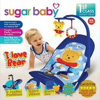 SUGAR BABY INFANT SEAT (KURSI GETAR + MUSIK + MAINAN) Motif: I Love Bear Blue