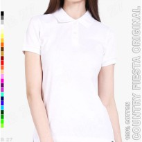 COUNTRY FIESTA Original P3-14 Kaos Polo Shirt Wanita Cotton Putih