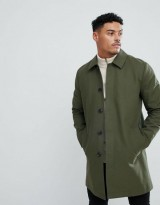 ASOS Shower Resistant Single Breasted Trench In Khaki