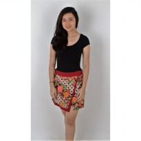 De Voile Batik Fashion Wanita Modern PIna Short skirt (Red)