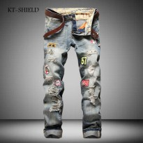 [globalbuy] Personality Badge Patchwork Ripped Mens Jeans New Fashion Brand Designer Biker/4192827