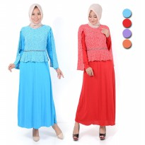 Jfashion Long Dress Gamis Maxi tangan Panjang Kombinasi - Raidah