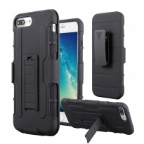 Iphone 6/6s Armor Case Holster Slide rubber Hybrid + PC with Belt Clip (Black)