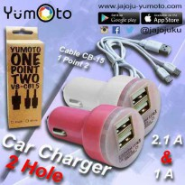 yumoto Car Charger 2.1A DOUBLE OUTPUT Charger di Mobil+kabel charger