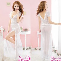 Lingerie Sexy Babydoll Long White Lace Waist Deep V MU5067WE Seksi Baby Doll Putih