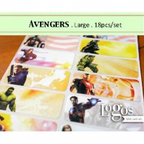 Avengers LARGE Sticker Label nama waterproof captain america hulk thor