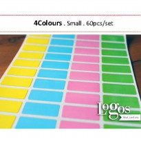 Colourful Sticker SMALL Label nama waterproof. Stiker warna warni oke