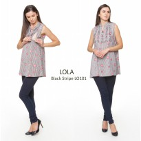 Just Mom Baju menyusui Lola Black Stripe LO101