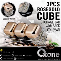 Oxone Toples 3pc Rosegold Cube (OX-354R)