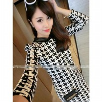 Leather lapel small plover black long-sleeved knit dress bottoming