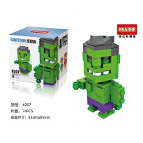 Hsanhe 6307 Action Figure Lego Cube Micro World Series Hulk