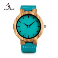 Bobo Bird WC28 Mens Blue Leather Band Antique Bamboo Wooden Watches - biru