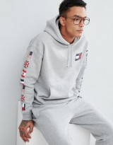 Tommy Jeans Capsule 90s Hoodie Sleeve and Back Flag Logo in Gray Marl