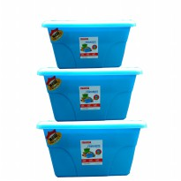 [Maspion] CONTAINER 3 PCS - Favourite containet set 3pc - biru