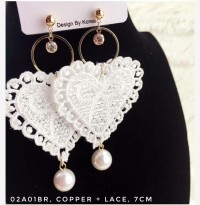 Anting Wanita Heart Lace Hati
