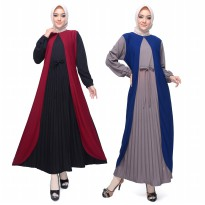 Long Dress Gamis maxii Wanita Muslim kombinasi warna - Jfashion Binar