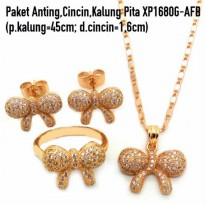 XP1680G-AFB Paket Anting,Cincin,Kalung Perhiasan Lapis Emas Xuping Yaxiya Gold