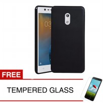 Case for Nokia 3 2017 (5.0') - Slim Soft Case - Hitam Solid + Gratis Tempered Glass