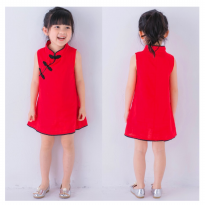 Baju Dress fashion anak wanita imlek merah Cheongsam kerah shanghai katun import best seller