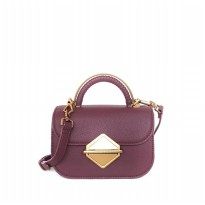 Original Charles & Keith Metallic Accent Top Handle Bag 030 - Maroon
